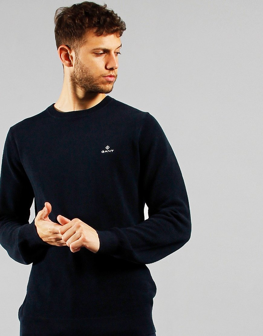 GANT Pique Crew Neck Sweat Evening Blue