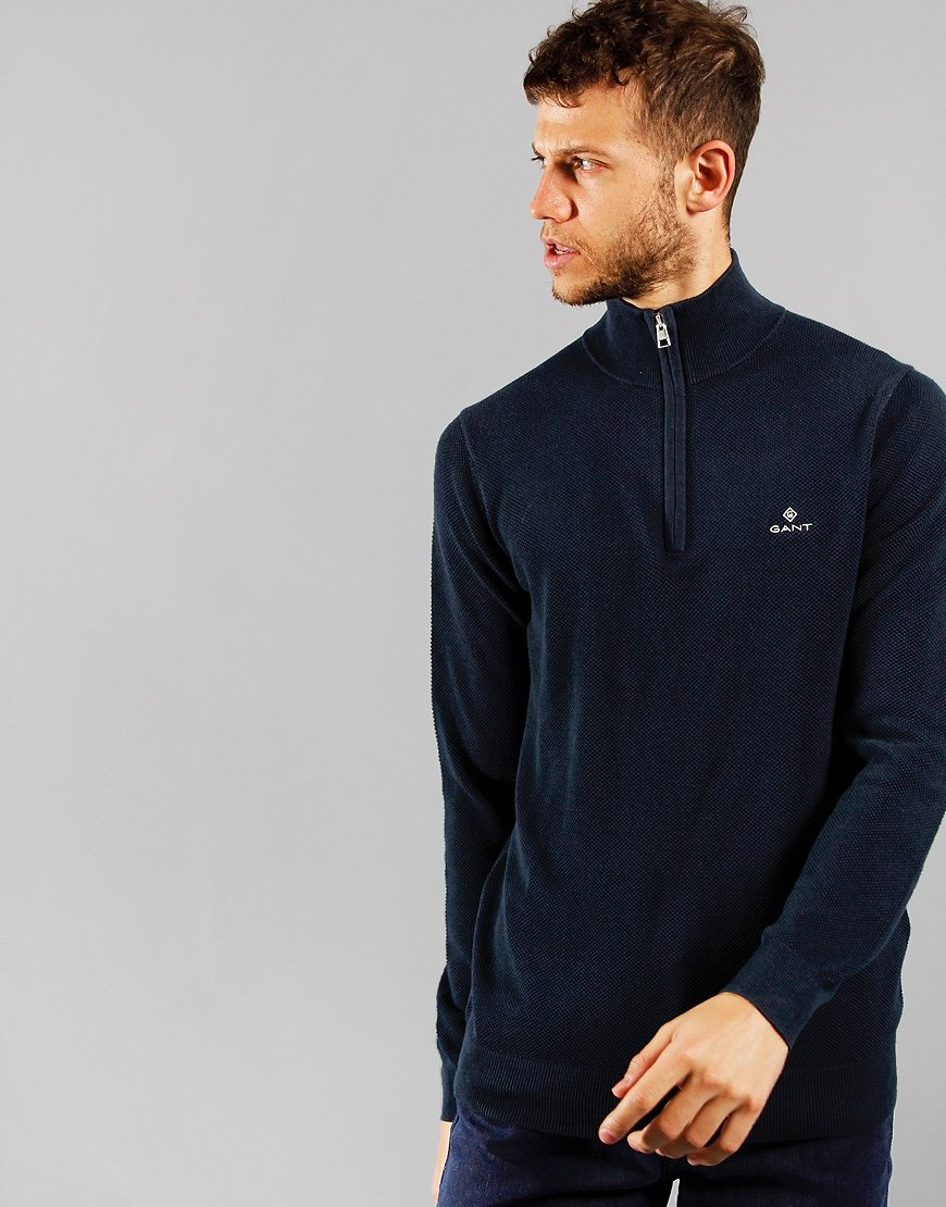 GANT Pique Half Zip Sweat Evening Blue