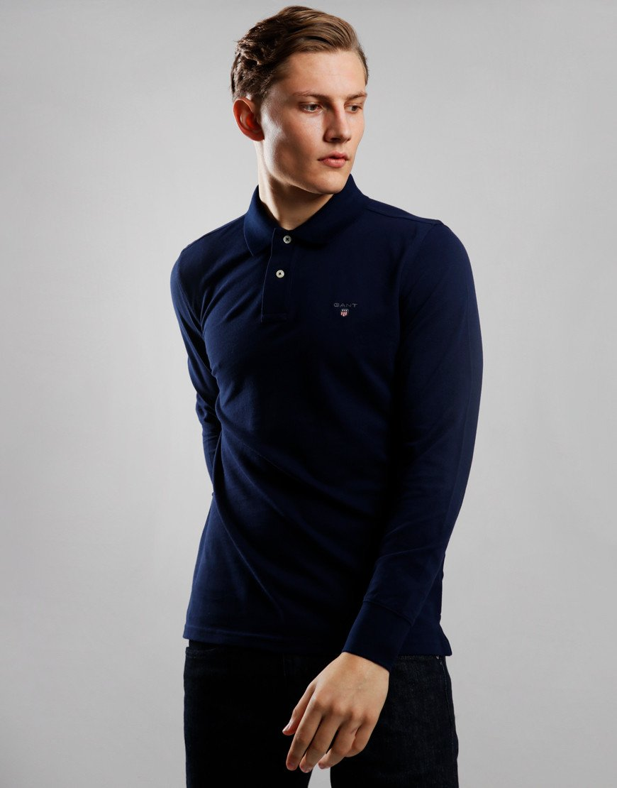 GANT Long Sleeve Piqué Polo Shirt Evening Blue