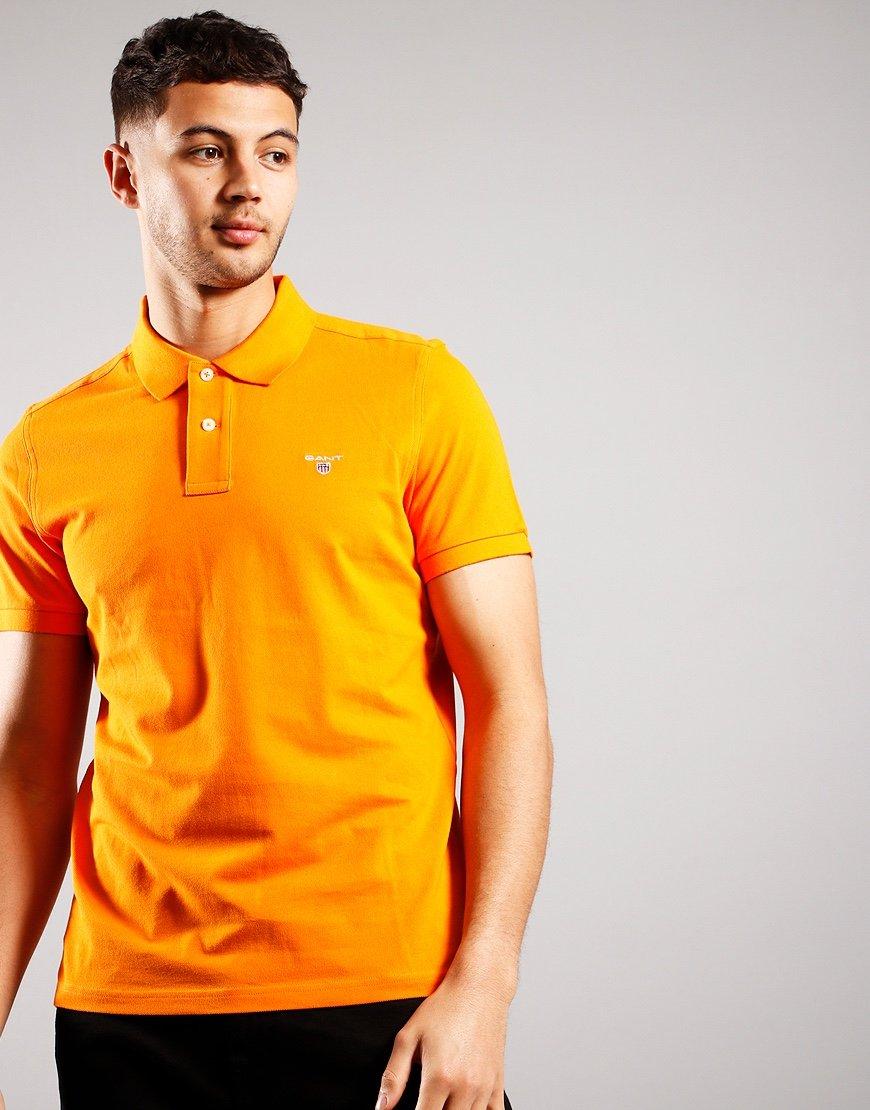 GANT Short Sleeve Pique Polo Shirt Russet Orange