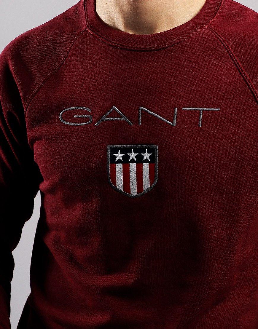 Gant Shield Logo Crew Neck Sweat Port Red