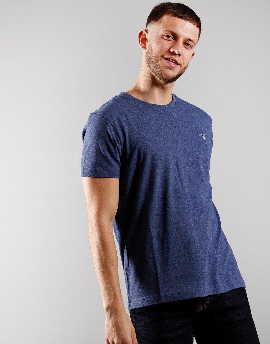 GANT Solid T-Shirt Light Dark Jeans Blue Melange