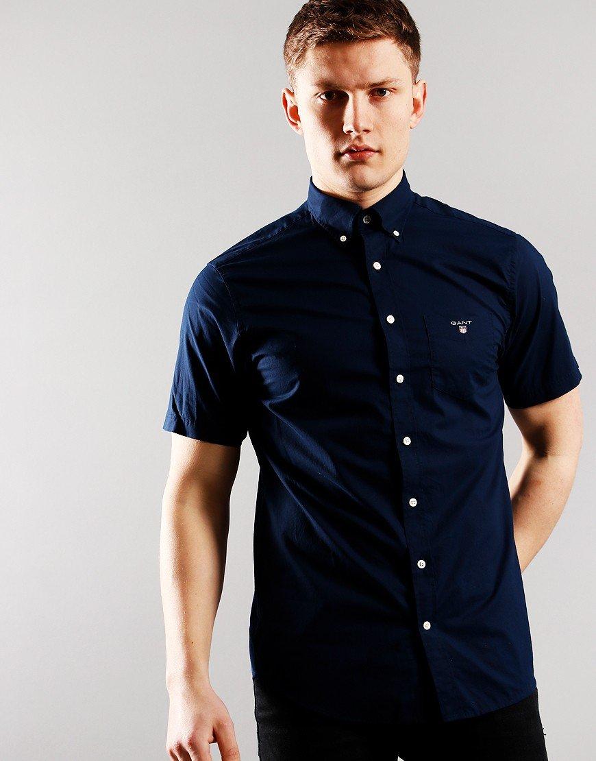 GANT Short Sleeve Shirt Broadcloth Marine