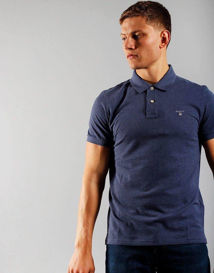 GANT Short Sleeve Pique Polo Shirt Dark Jeans Blue Melange