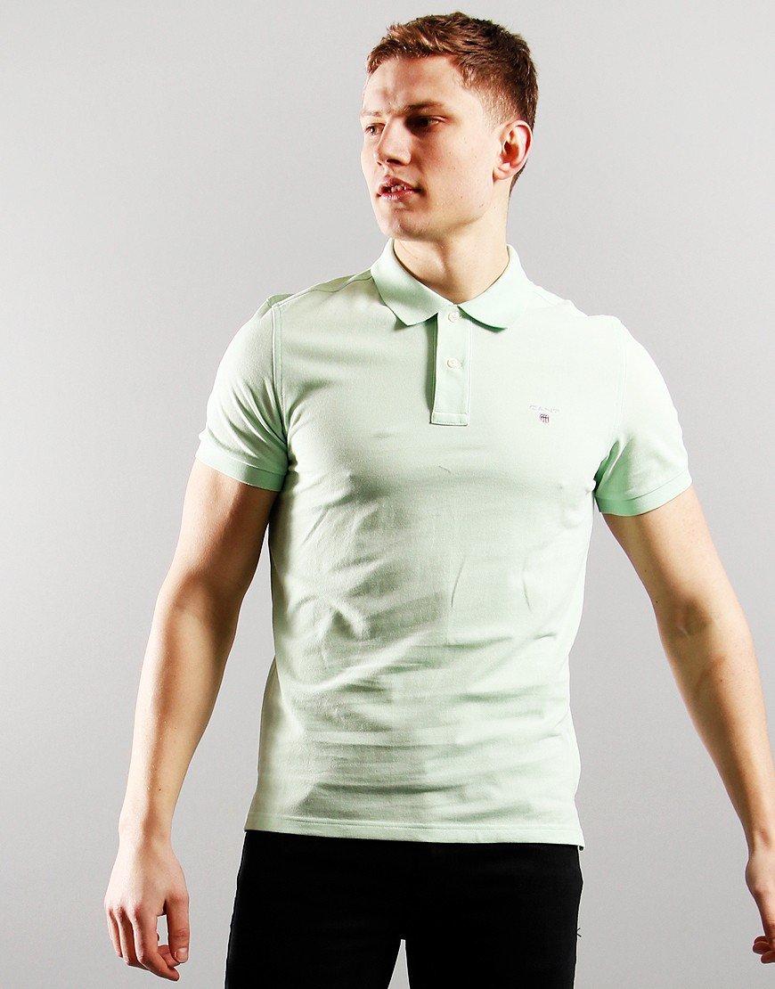 GANT Short Sleeve Pique Polo Pastel Green