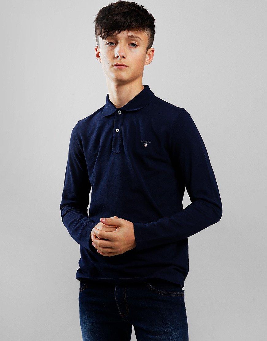 Gant Kids Rugger Long Sleeved Polo Shirt Evening Blue