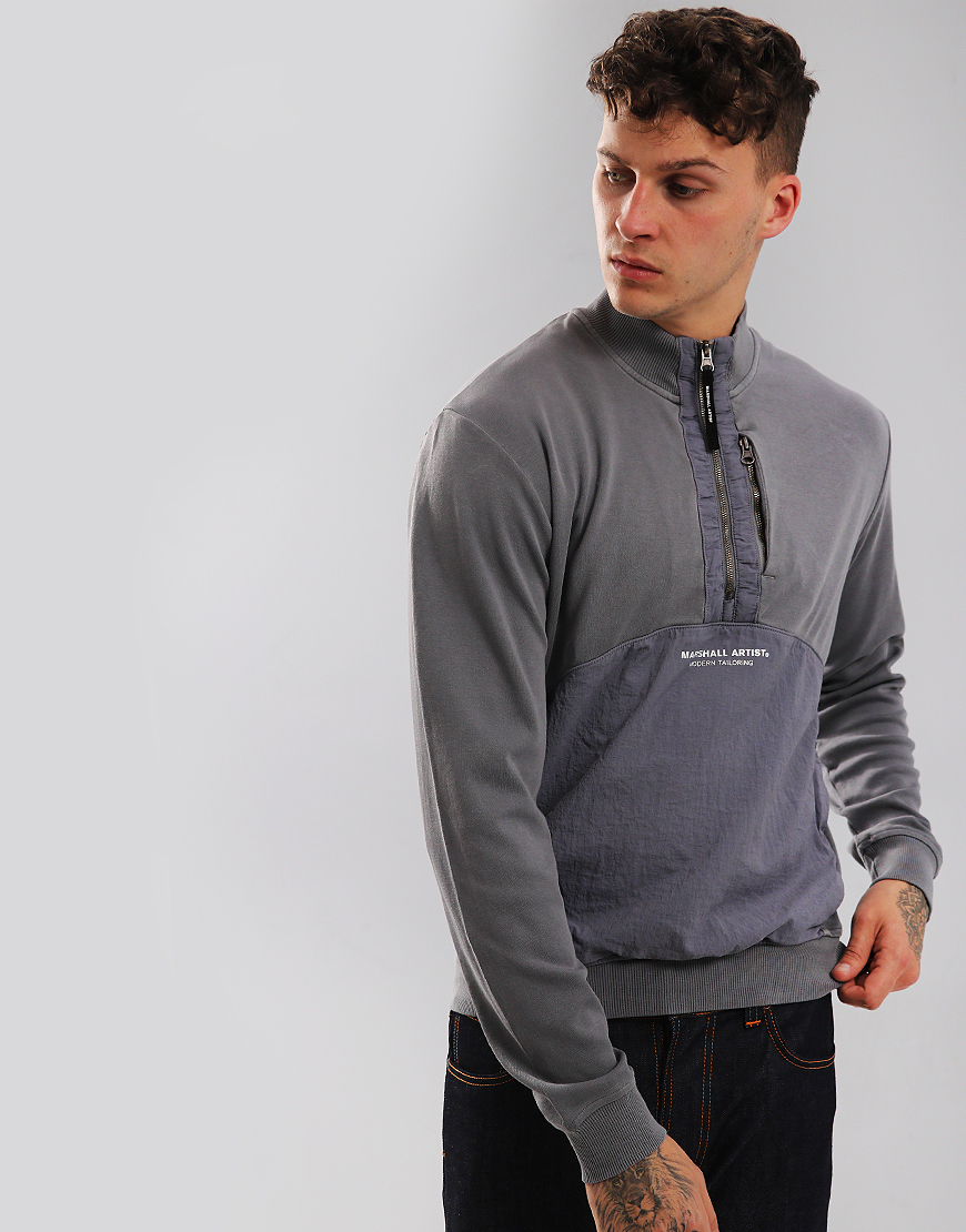 Marshall Artist Garment Dyed Hybrid 1/4 Sweat Charcoal