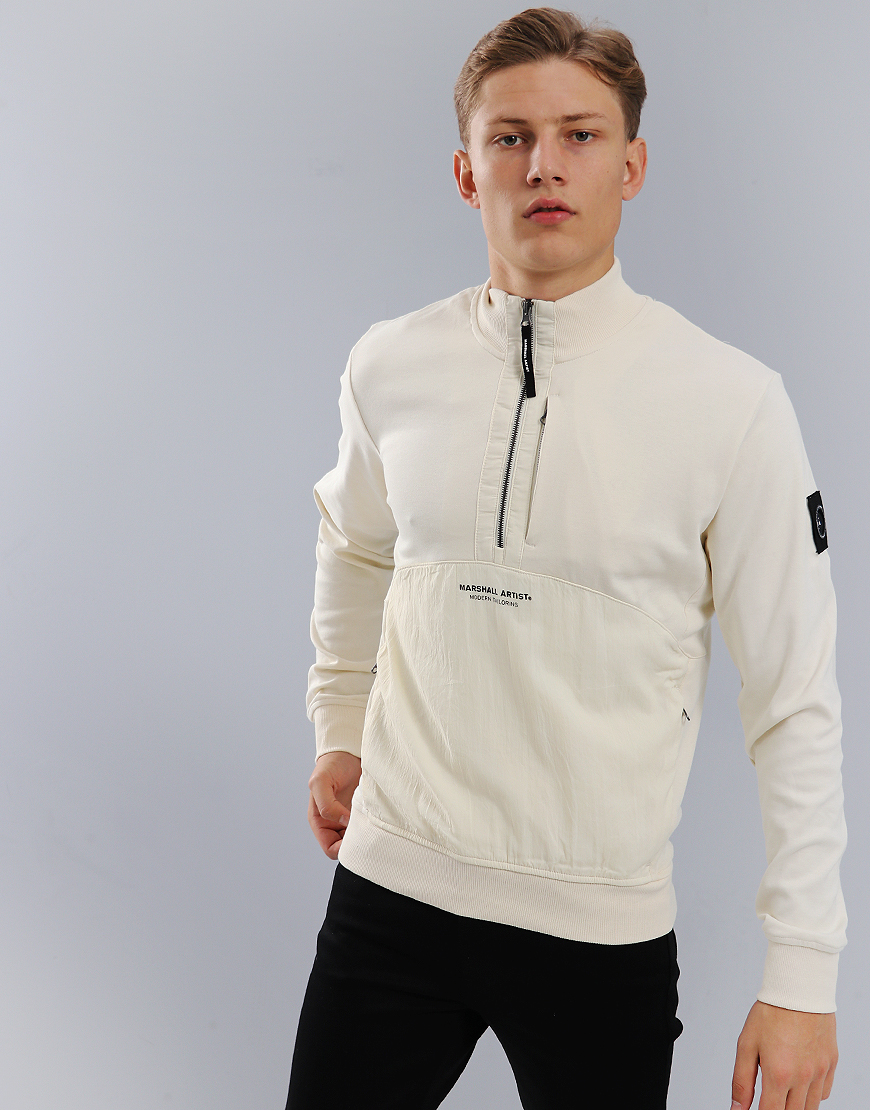 Marshall Artist Garment Dyed Hybrid 1/4 Sweat Off White