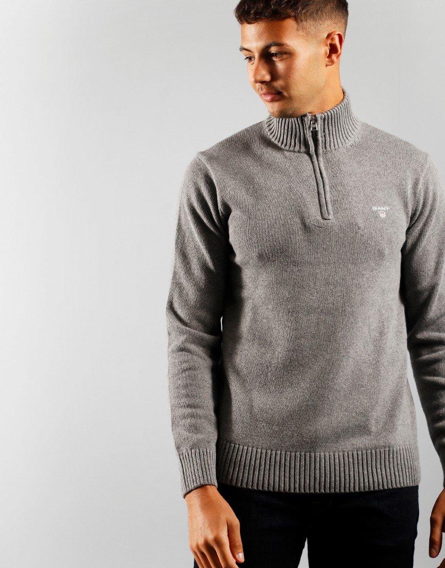 GANT Cotton Half Knit Dark Grey Melange