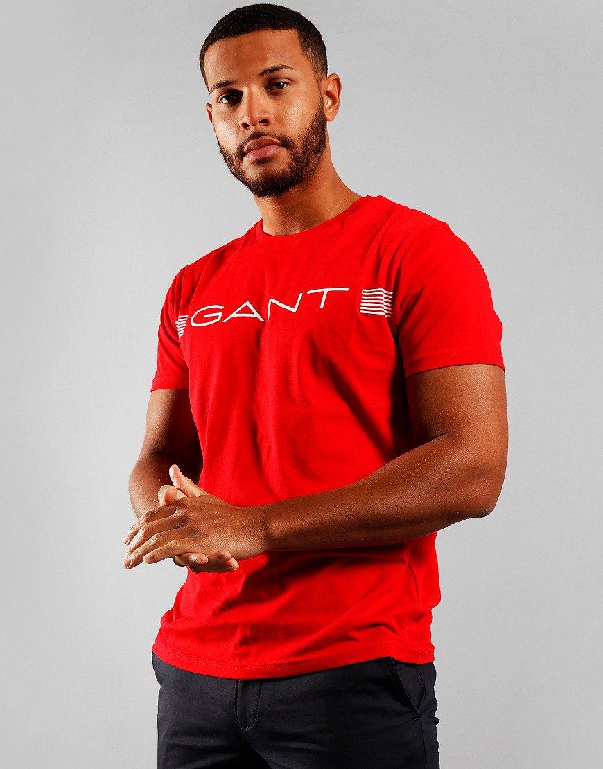 GANT Stripe T-Shirt  Bright Red