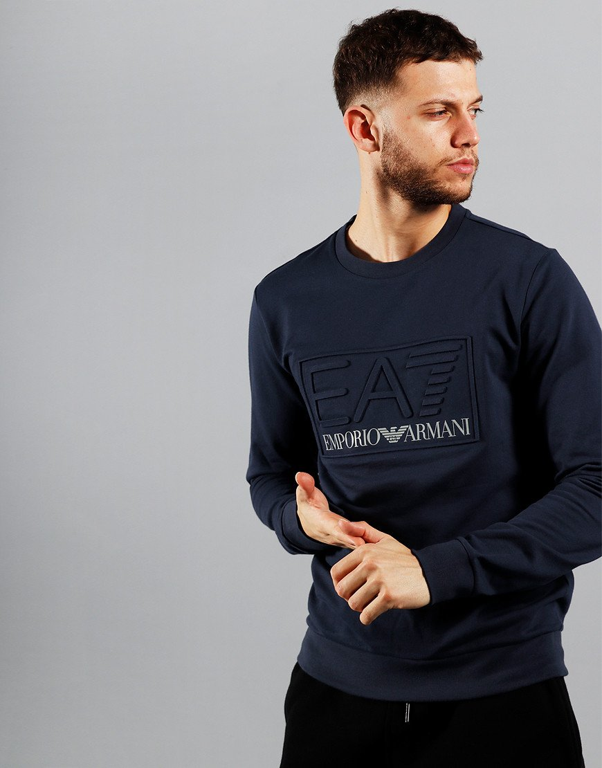 EA7 Emboss Logo Crew Sweat Navy