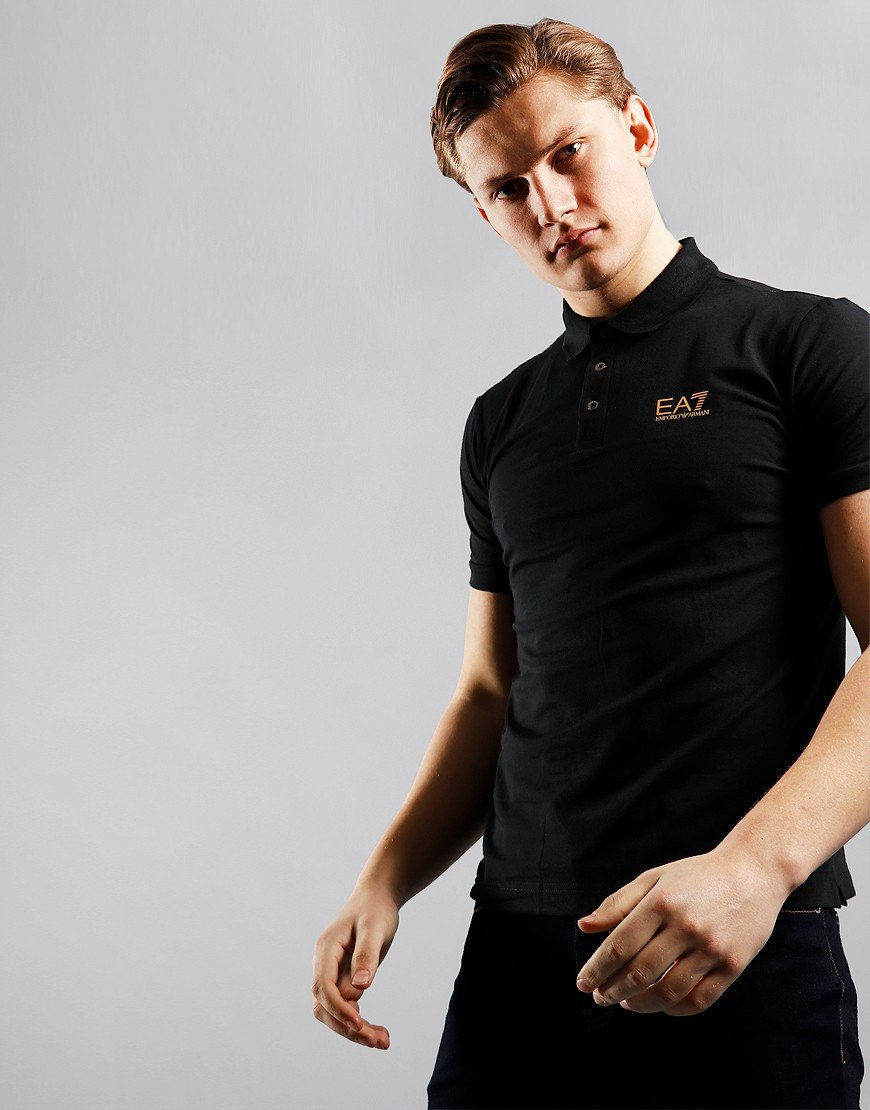 EA7 Logo Polo Shirt Black