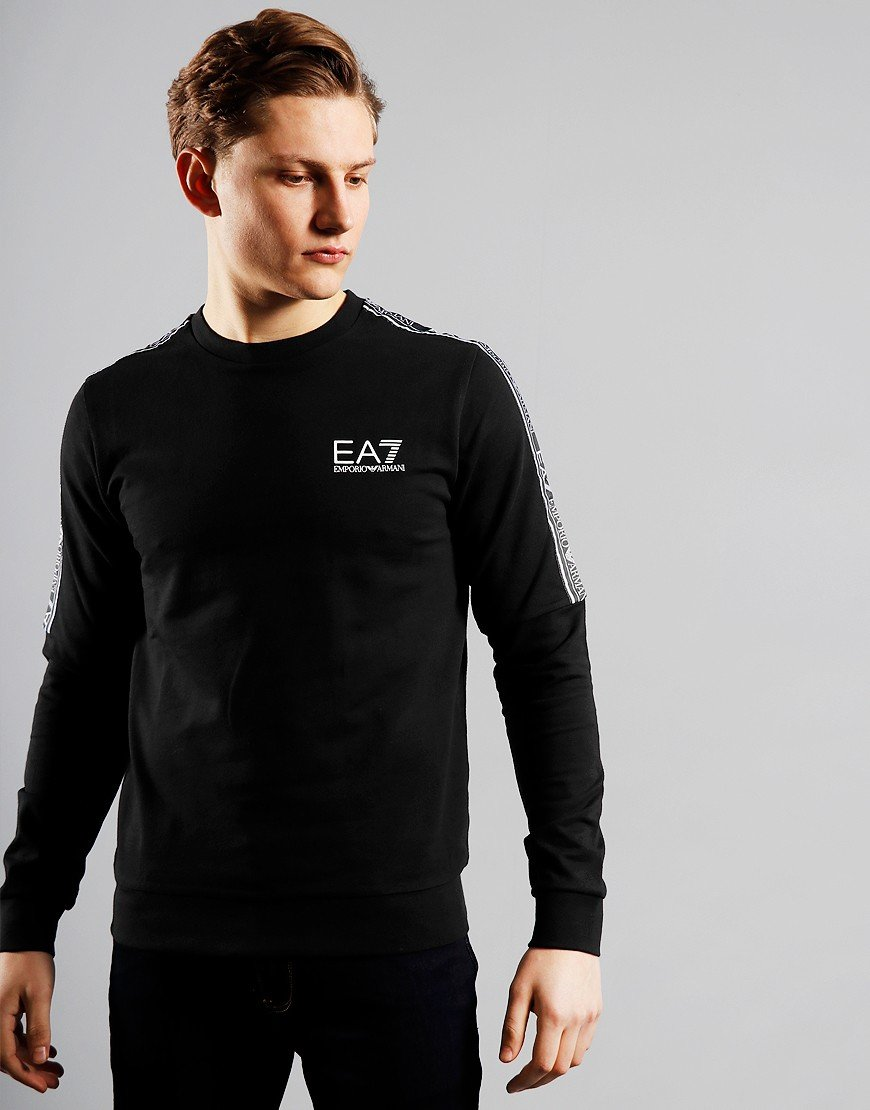 EA7 Tape Logo Crew Neck Sweat Black