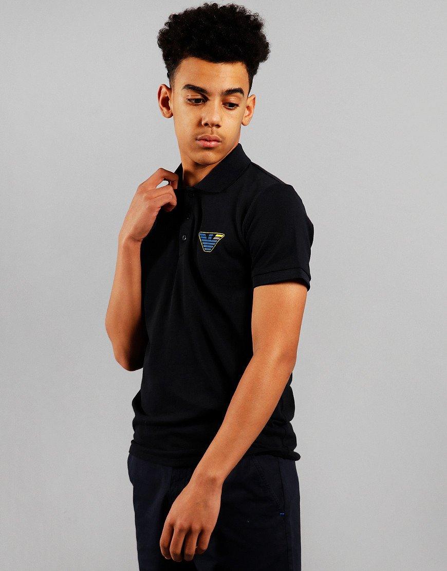 Armani Junior Chest Eagle Logo Polo Shirt Navy