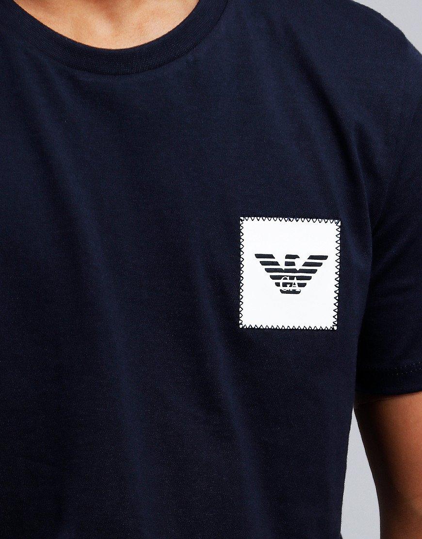 Armani Junior Chest Square T-Shirt Dark Blue