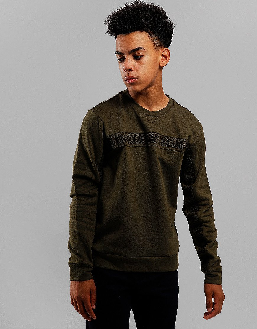 Armani Junior Chest Tape Sweat Olive