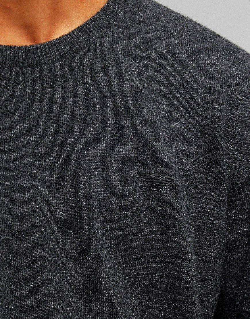 Armani Junior Knitted Crew Sweat Lead Melange