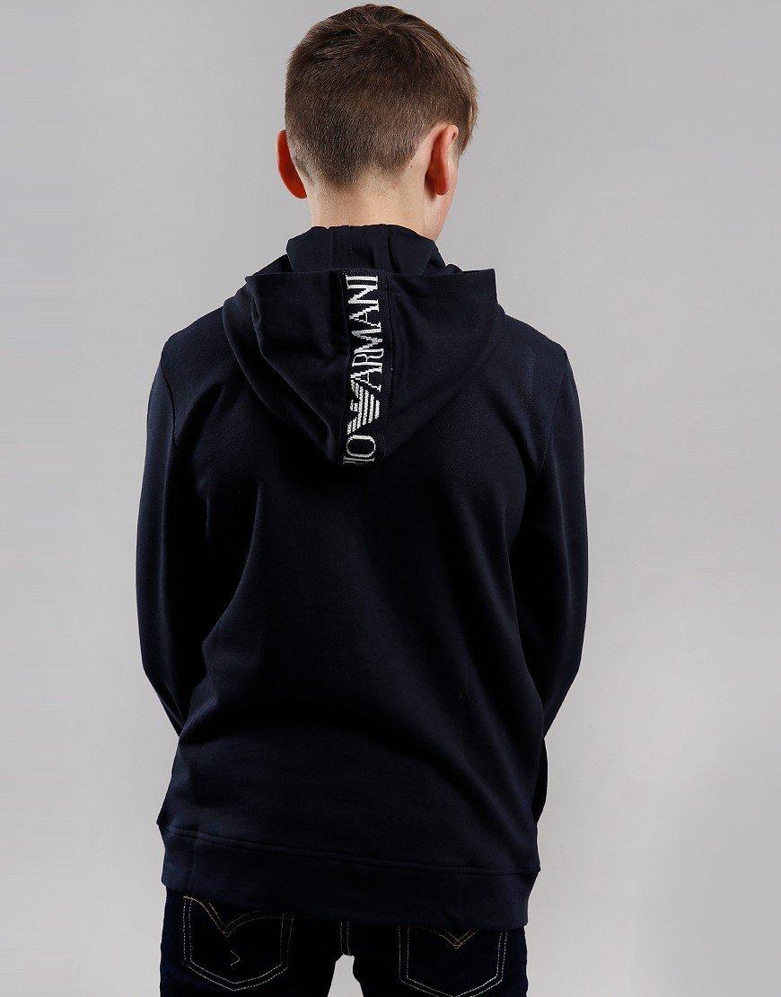 Armani Junior Tape Logo Zip Hoody Dark Blue