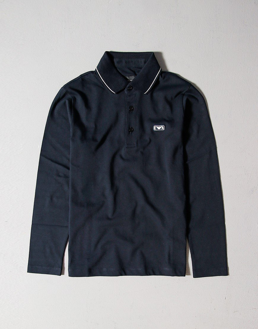 Armani Kids Tipped Long Sleeve Polo Shirt Navy
