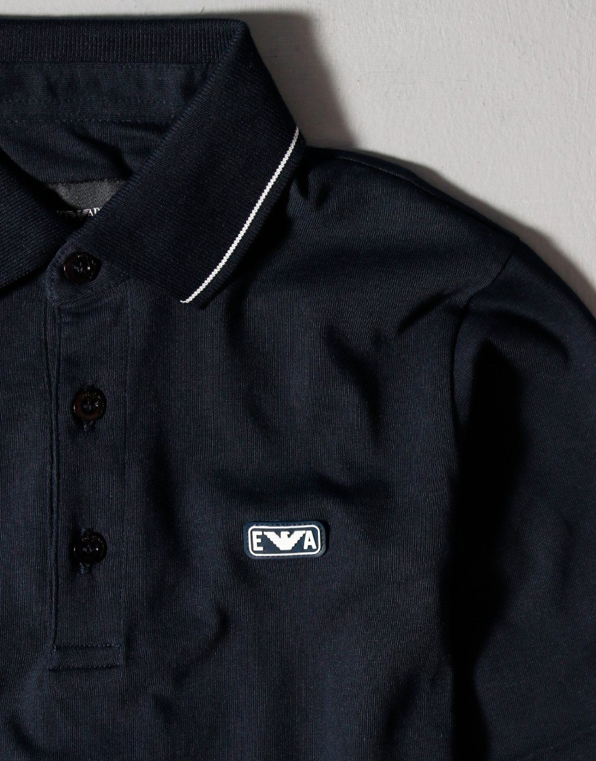 Armani Kids Tipped Long Sleeve Polo Shirt Navy