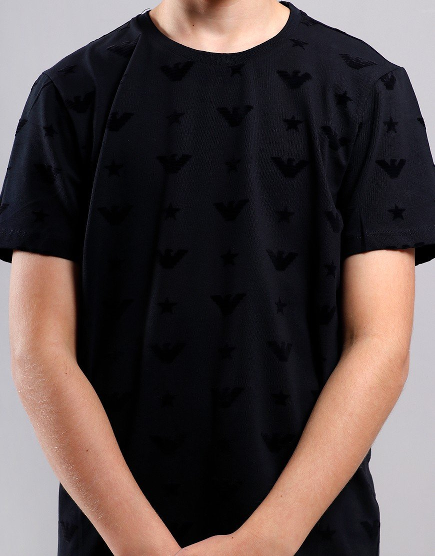 Armani Junior Eagle All Over Print T-Shirt Navy