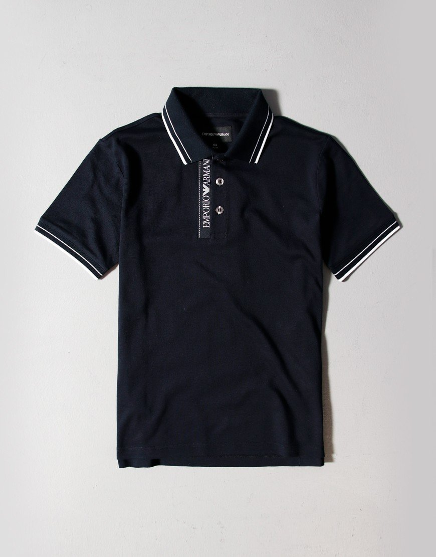 Armani Kids Tape Collar Polo Shirt Navy