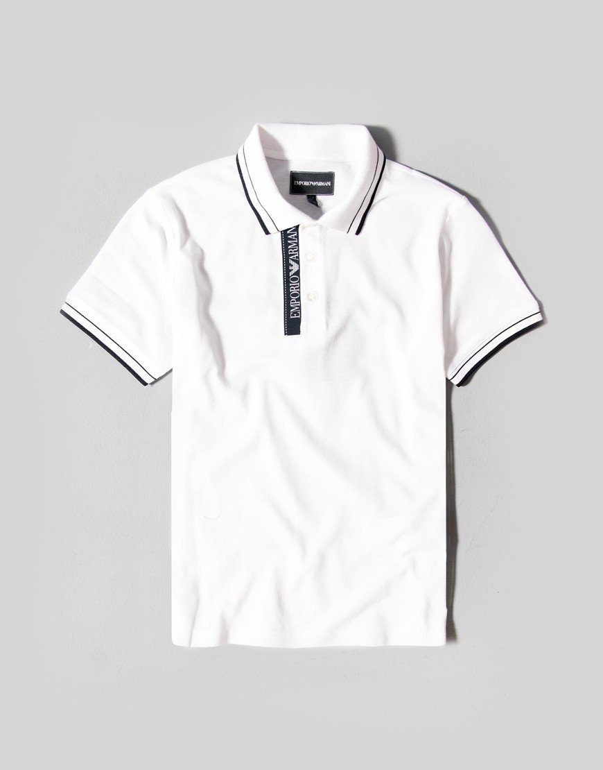 Armani Kids Tape Collar Polo Shirt White