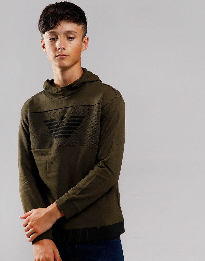 Armani Junior Hooded Sweat Olive