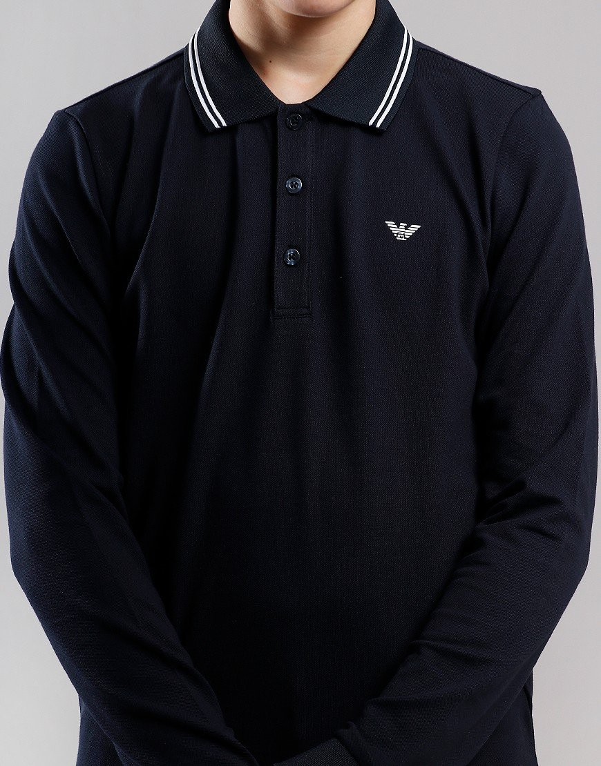 Armani Junior Tipped Long Sleeved Polo Shirt Dark Blue