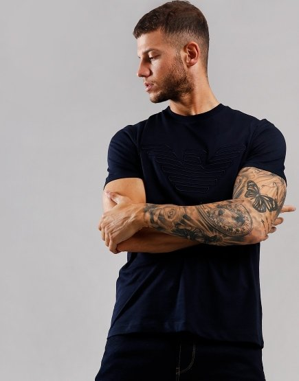 Emporio Armani Outline Eagle T-Shirt Navy