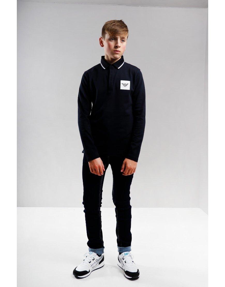 Armani Junior Chest Square Polo Shirt Navy