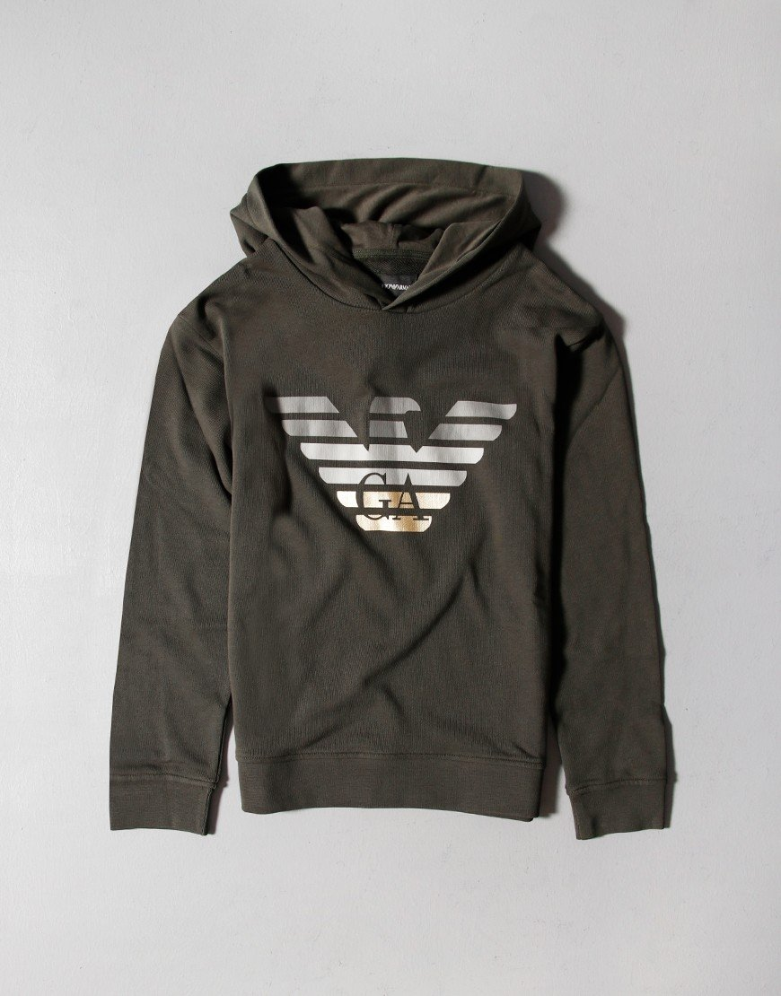 Armani Kids Hooded Sweat Military Green