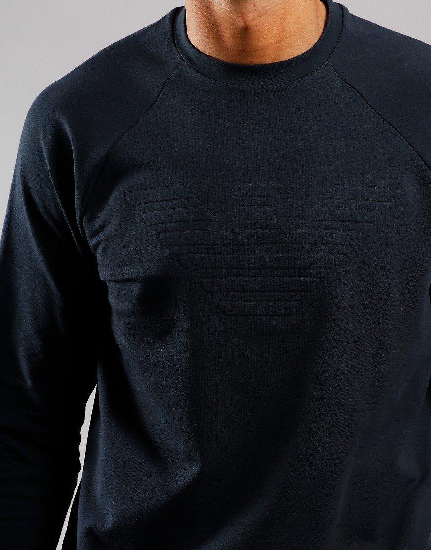 Emporio Armani Tonal Logo Sweat Graphite Blue