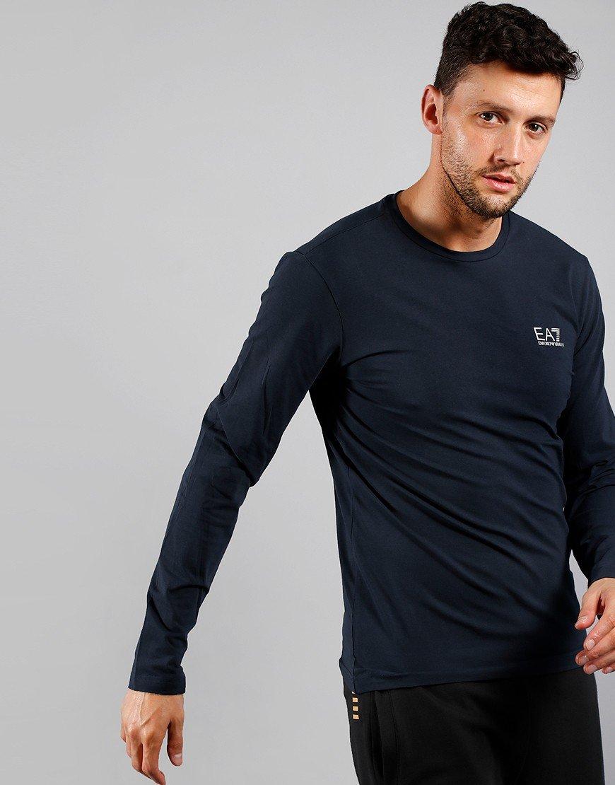 EA7 Long Sleeve Small Logo T-Shirt Night Blue