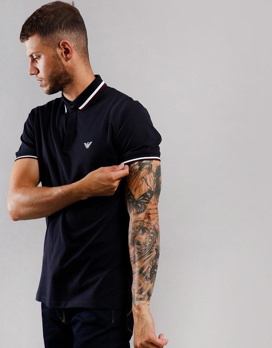Emporio Armani Tipped Polo Shirt Navy