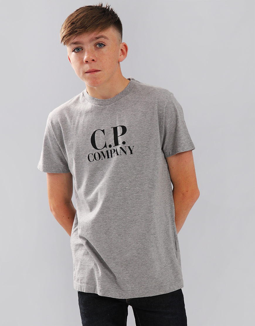 C.P. Company Kids Chest Logo T-Shirt With Hood Print Grey Melange