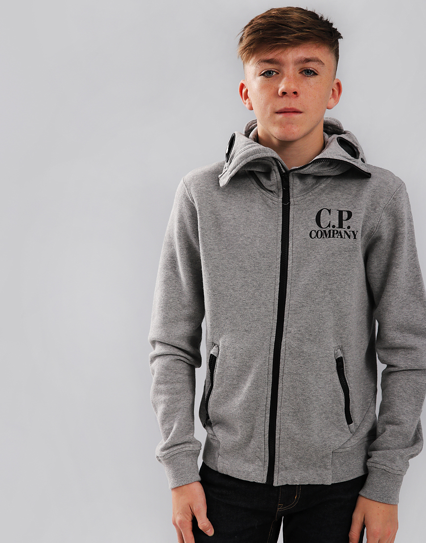 C.P. Company Kids Goggle Hooded Sweat Grey Melange