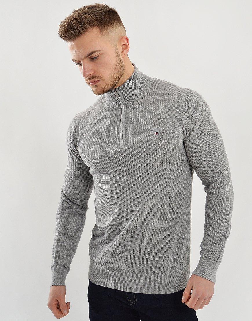 Gant Half Zip Sweat Grey Melange