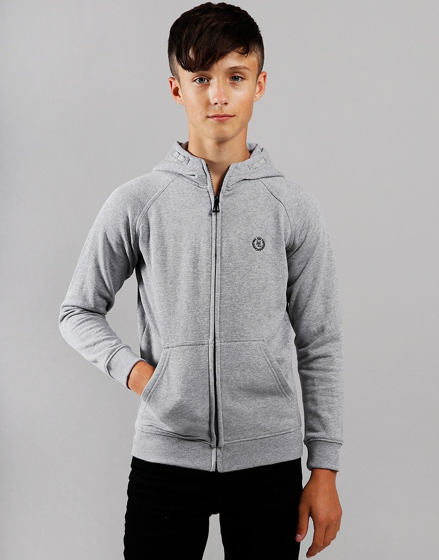 Henri Lloyd Junior Bredgar Zip Hoodie Vintage Grey Heather