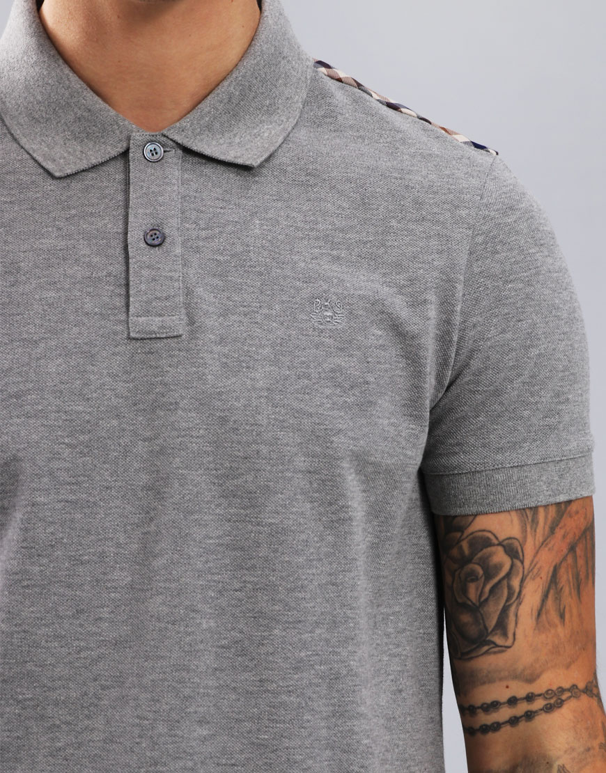 Aquascutum Hill Club Check Polo Shirt Grey