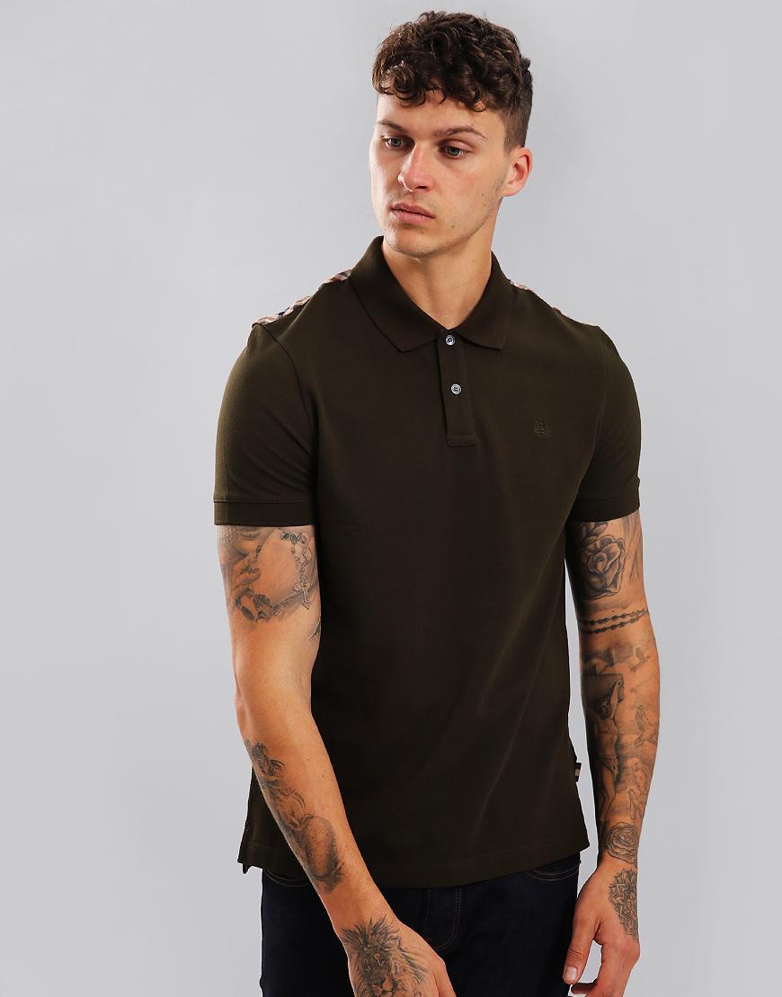 Aquascutum Hill Club Check Polo Shirt Military Green