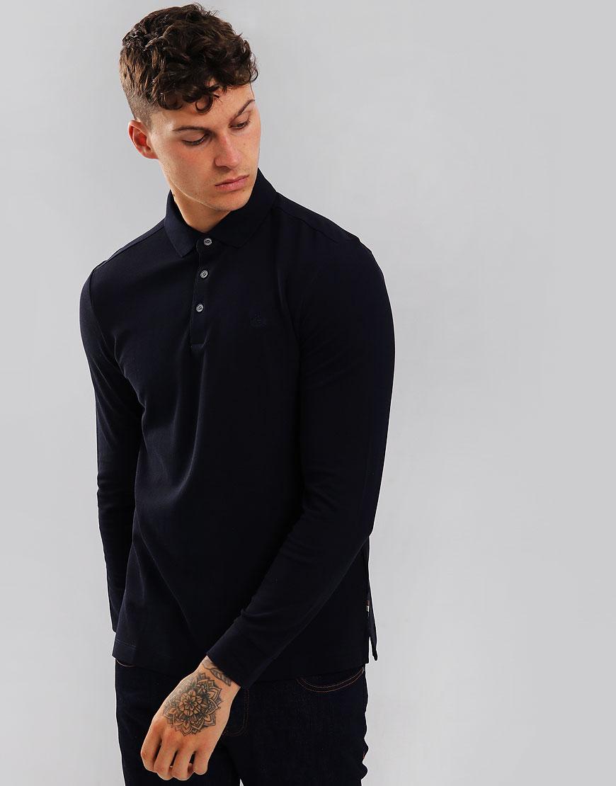 Aquascutum Hillington Long Sleeve Polo Shirt Navy