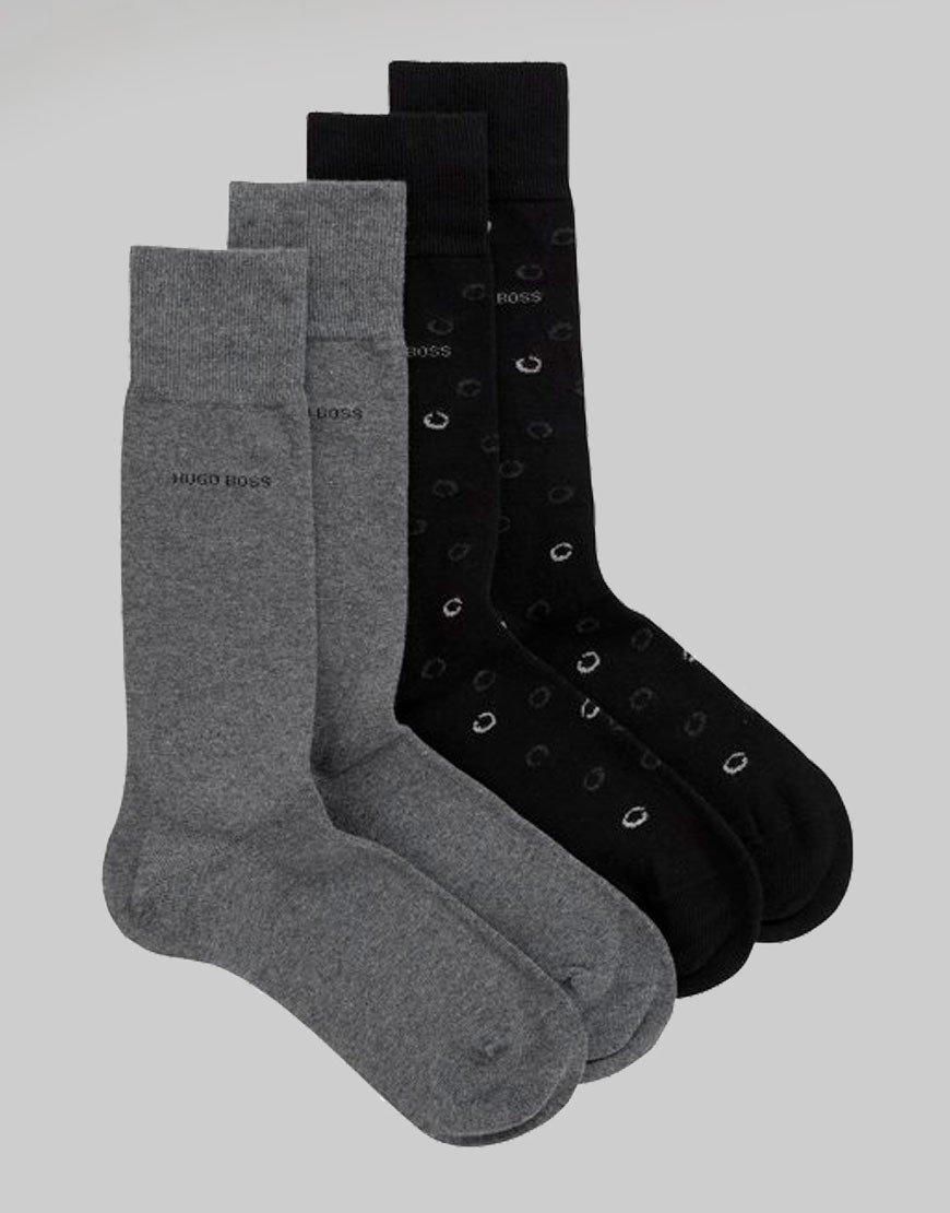 BOSS 2 Pack Dot Socks Black