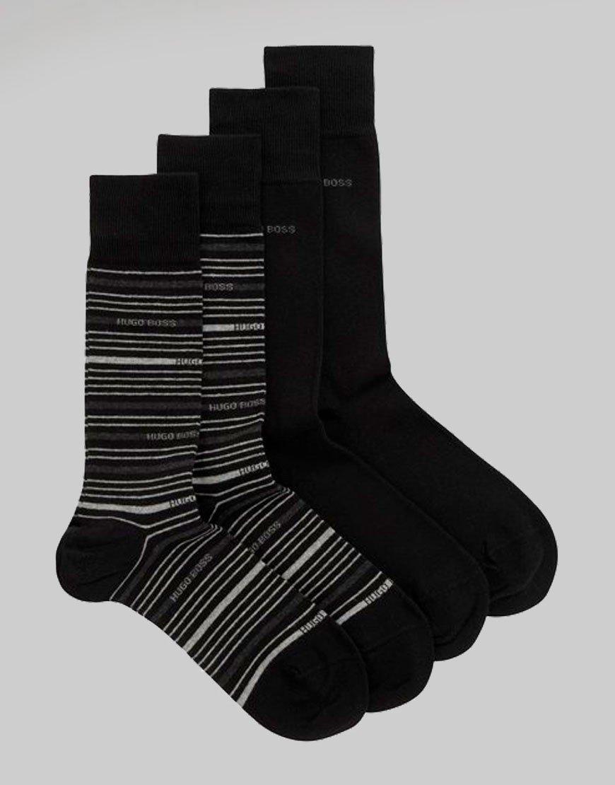 BOSS 2 Pack Stripe Socks Black