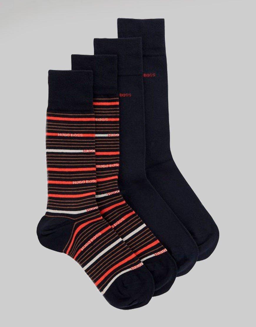 BOSS 2 Pack Stripe Socks Dark Blue