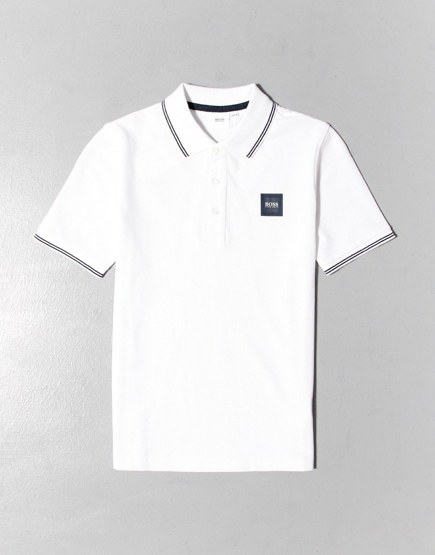 BOSS Kids Tipped Polo Shirt White