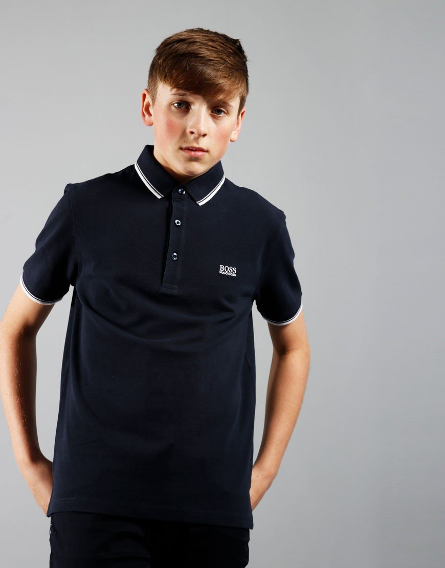 BOSS Kids Tipped Polo Shirt Navy