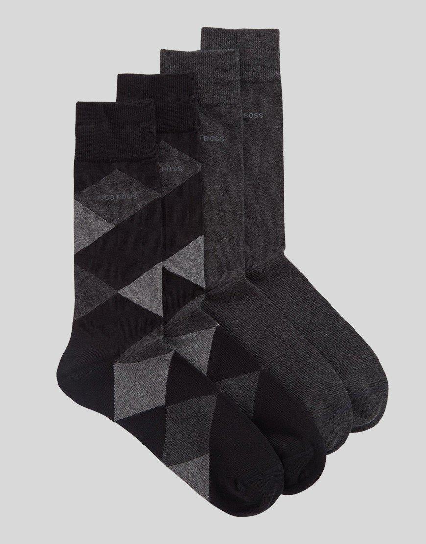BOSS 2 Pack Socks Charcoal/Black