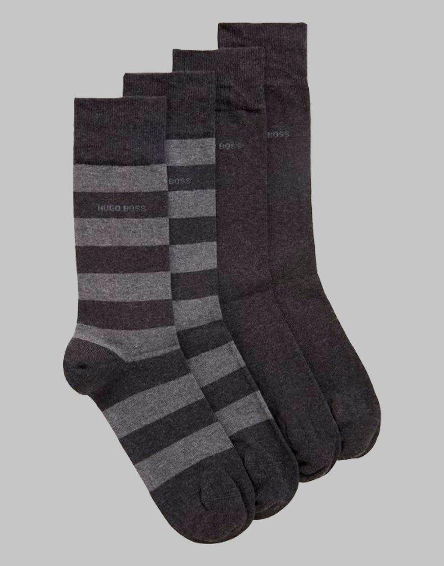 BOSS 2 Pack Block Stripe Socks Charcoal