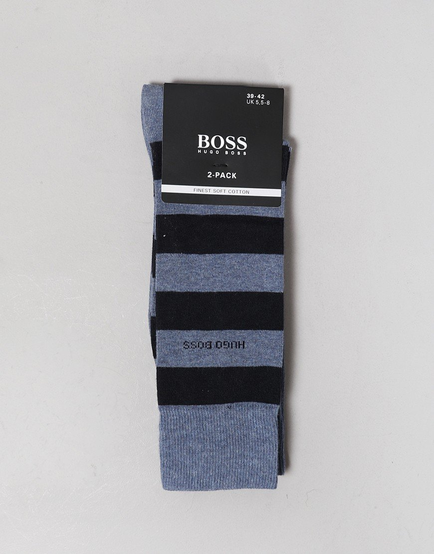 BOSS 2 Pack Socks Block Stripe Open Blue